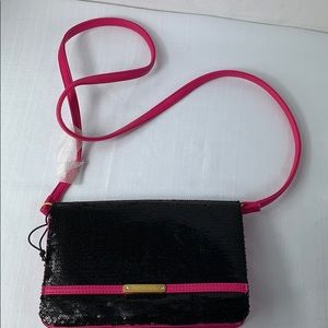 Juicy Couture Sequin Crossbody Purse pink/black